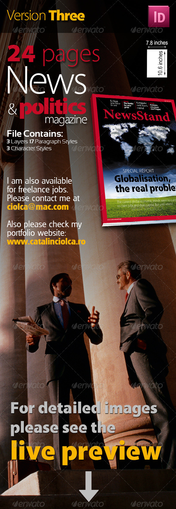 24 Pages News & Politics Magazine Version Three - Magazines Print Templates