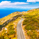 Aerial view of mountain road near blue sea, forest in autumn - PhotoDune Item for Sale
