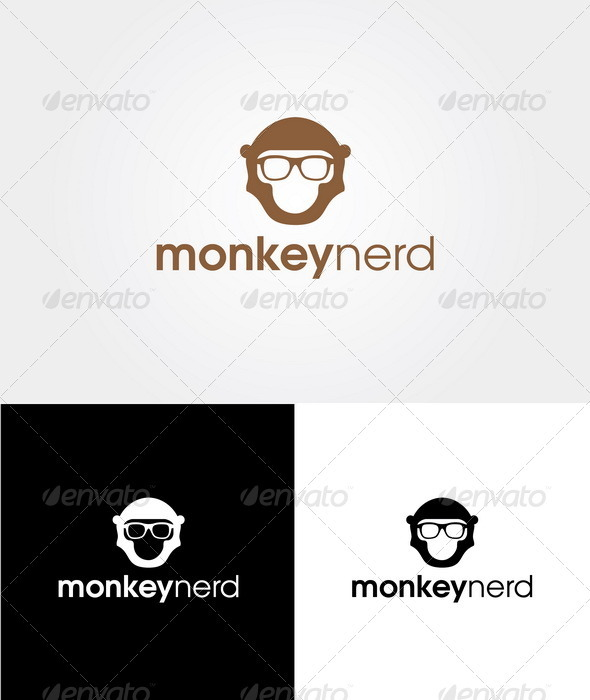 Monkey Nerd - Logo Template - Animals Logo Templates