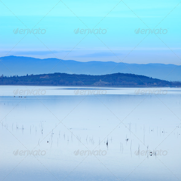 Sunset blue Landscape on Trasimeno Lake, Italy, Europe. - Stock Photo - Images