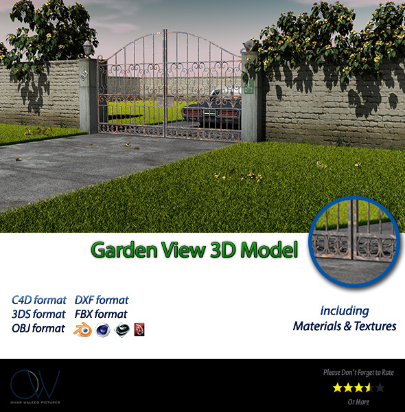 Garden View 3D Model - 3DOcean Item for Sale