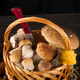 Large and small Forest mushrooms in wooden basket on a dark background . Vegetarian food - PhotoDune Item for Sale