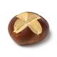 Single fresh baked Lye roll close up on white background - PhotoDune Item for Sale