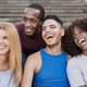 Group of multiracial people taking a selfie in the city - Diverse people and friendship concept - PhotoDune Item for Sale