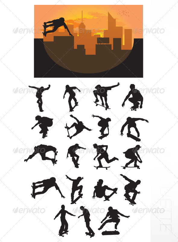 Skateboarding Silhouette - Sports/Activity Conceptual