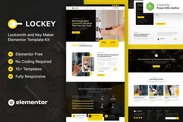 Lockey – Locksmith and Key Maker Service Elementor Template Kit
