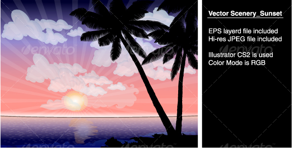Vector Scenery_Sunset - Landscapes Nature