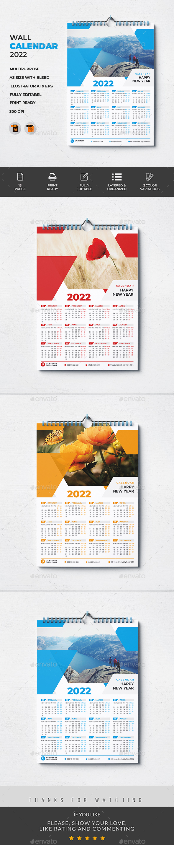One Page Wall Calendar 2022