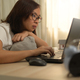Asian woman working from home. - PhotoDune Item for Sale