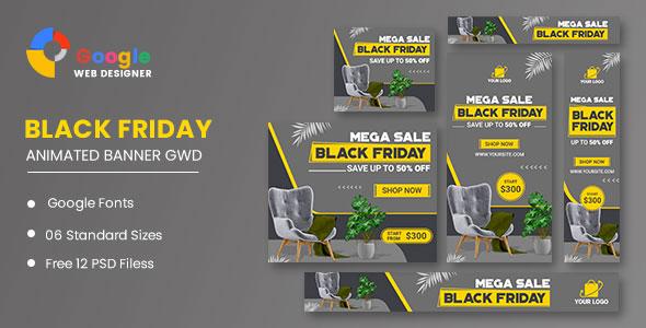 Furniture Black Friday Sale HTML5 Banner Ads GWD