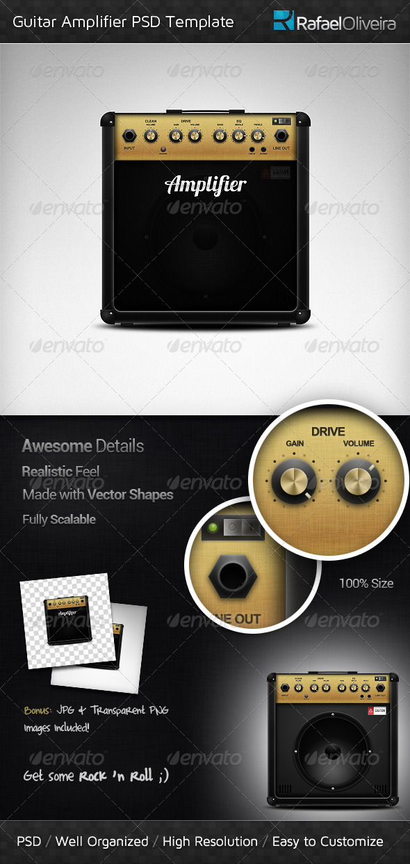 Guitar Amplifier PSD Template - Objects Illustrations