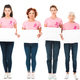 women in pink t-shirts with breast cancer awareness ribbons holding blank banners and looking at - PhotoDune Item for Sale
