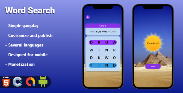 Word Search - HTML5 game (Construct 3)
