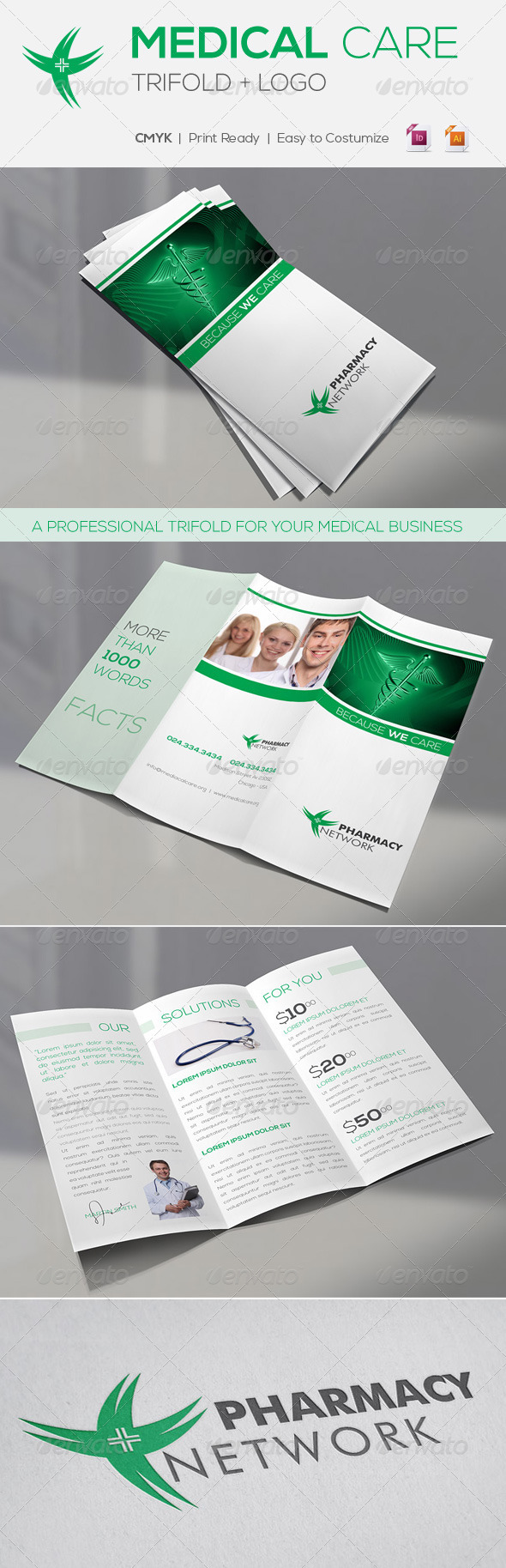 A4 Medical Care | Trifold + Logo - Brochures Print Templates