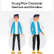 Young Man Character Gesture and Emotion