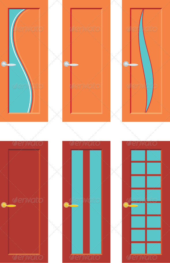 Set Of Doors For Rooms - Objects Vectors