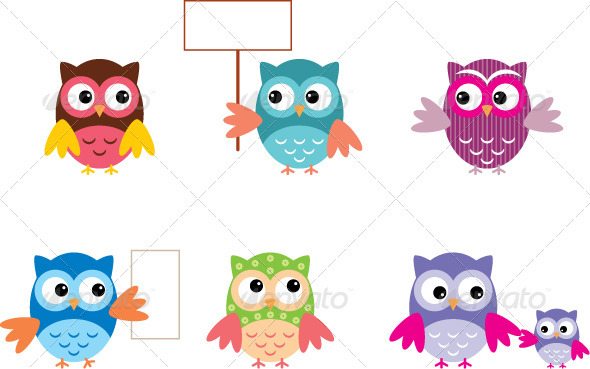The Drawn Owls, Different Types - Animals Characters