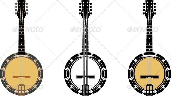 Set From A Musical Instrument  Banjo. - Conceptual Vectors