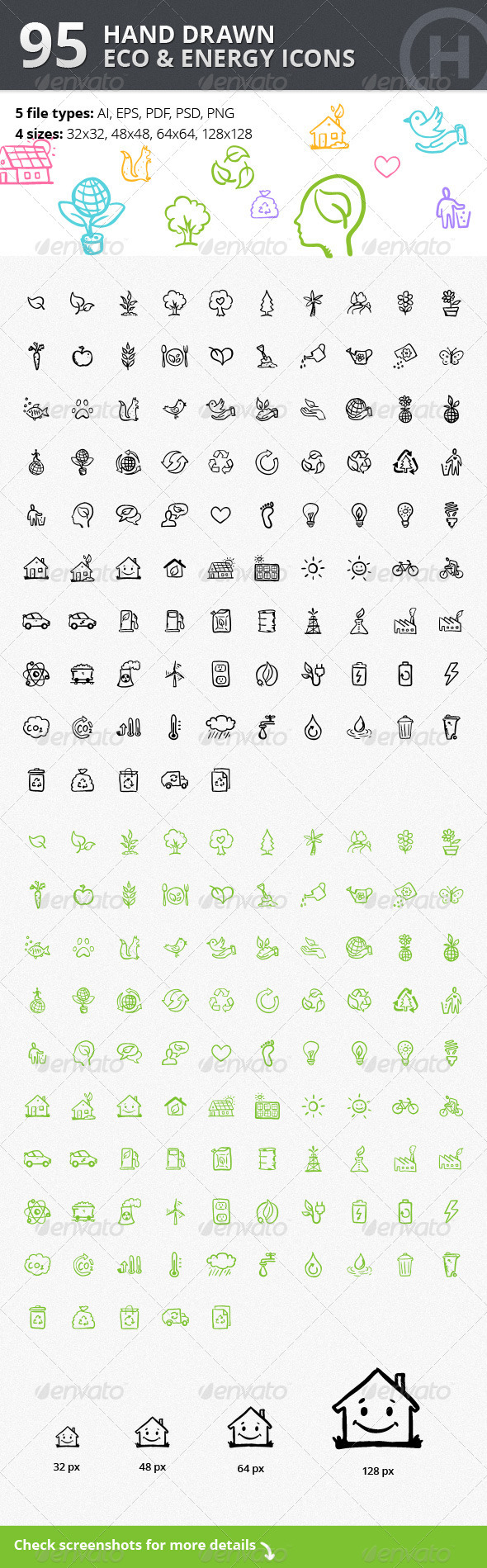 95 Hand-drawn Eco & Energy Icons - Web Icons