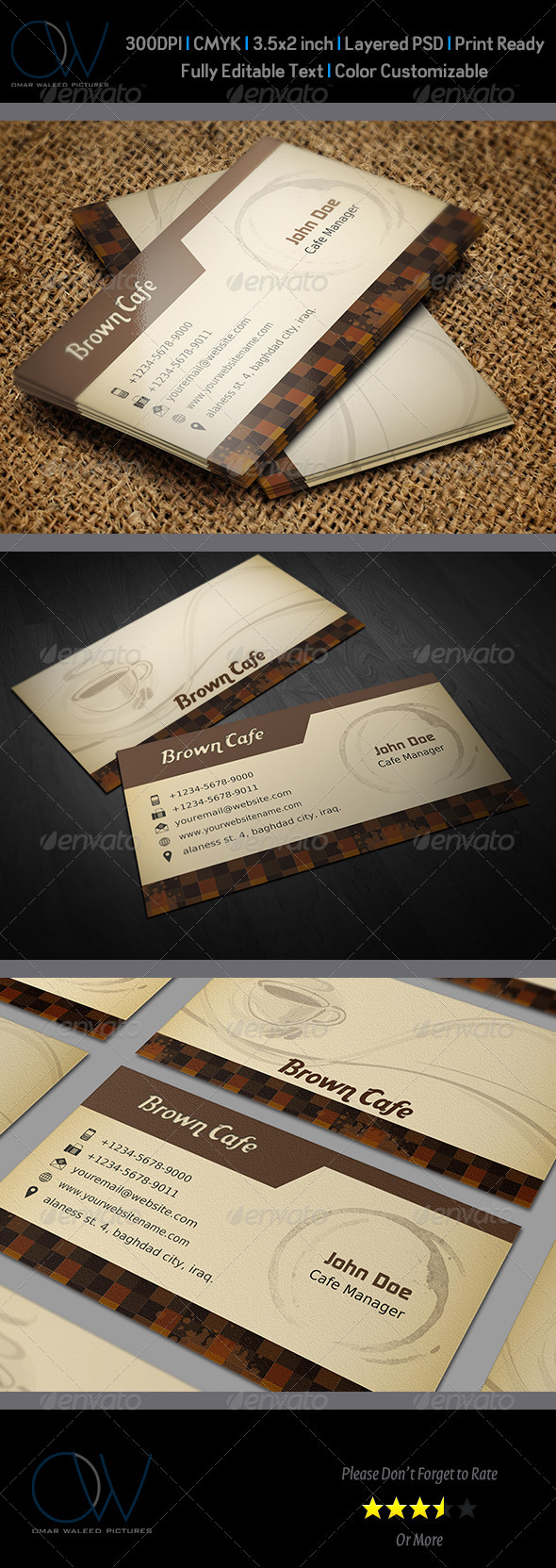 Coffee Shop Business Card Template - Corporate Business Cards