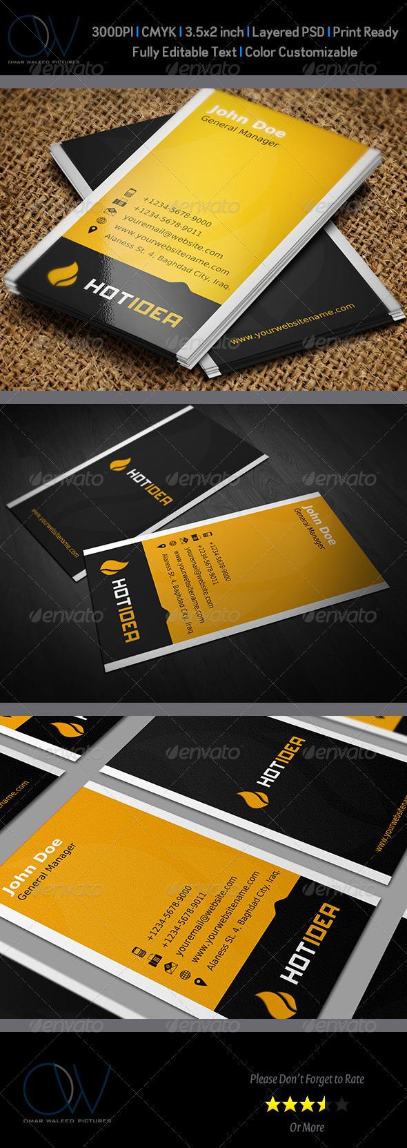 Hot Idea Business Card - Corporate Business Cards
