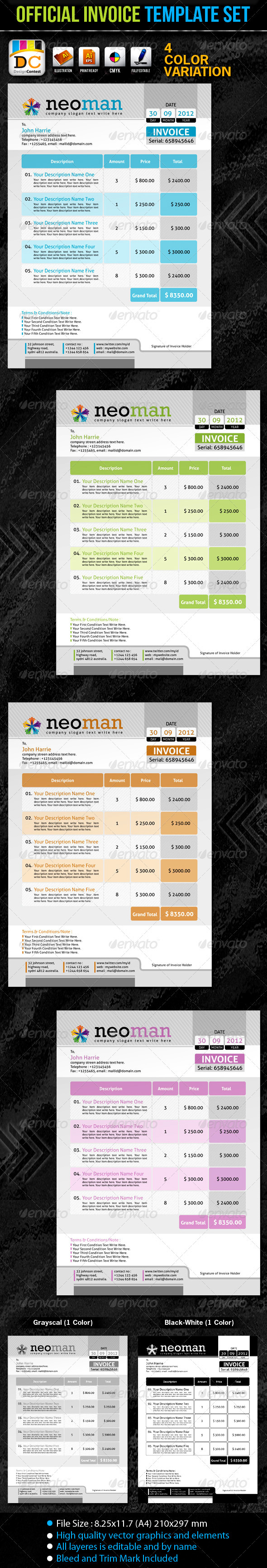 NeoMan_Official Invoice Template Set - Proposals & Invoices Stationery