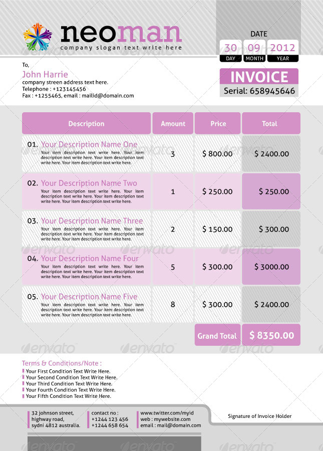 Neoman_Official Invoice Template Set By Contestdesign | Graphicriver