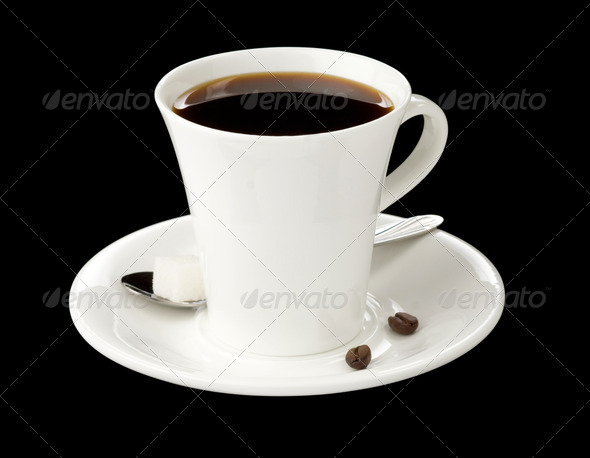 cup of coffee on black - Stock Photo - Images