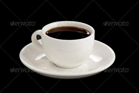 cup of coffee at black - Stock Photo - Images