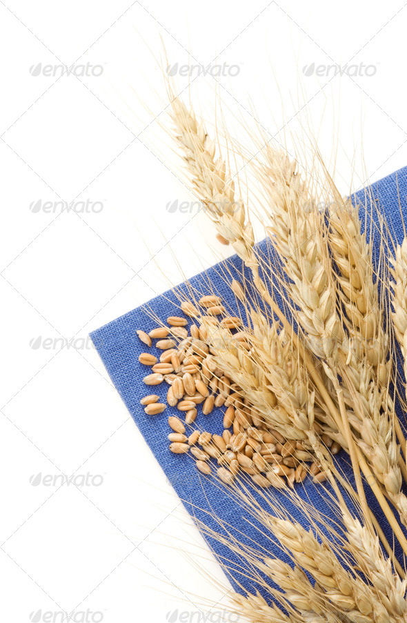 ears of wheat on napkin - Stock Photo - Images