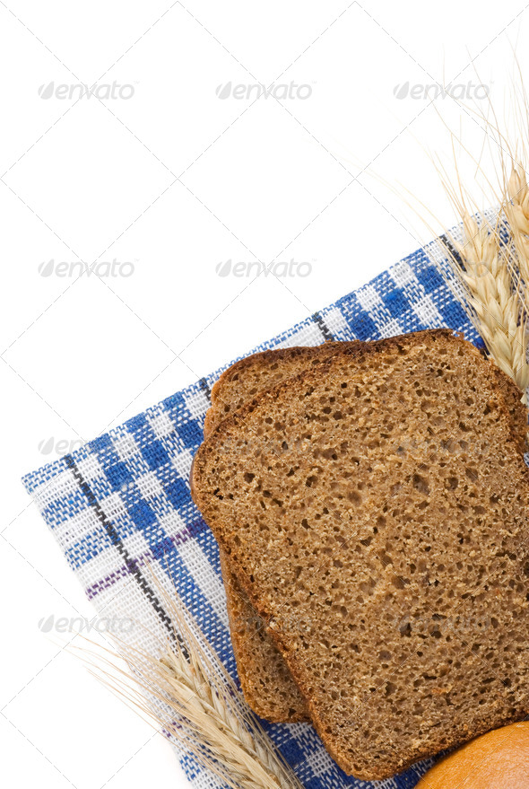 rye bread and ears of wheat - Stock Photo - Images