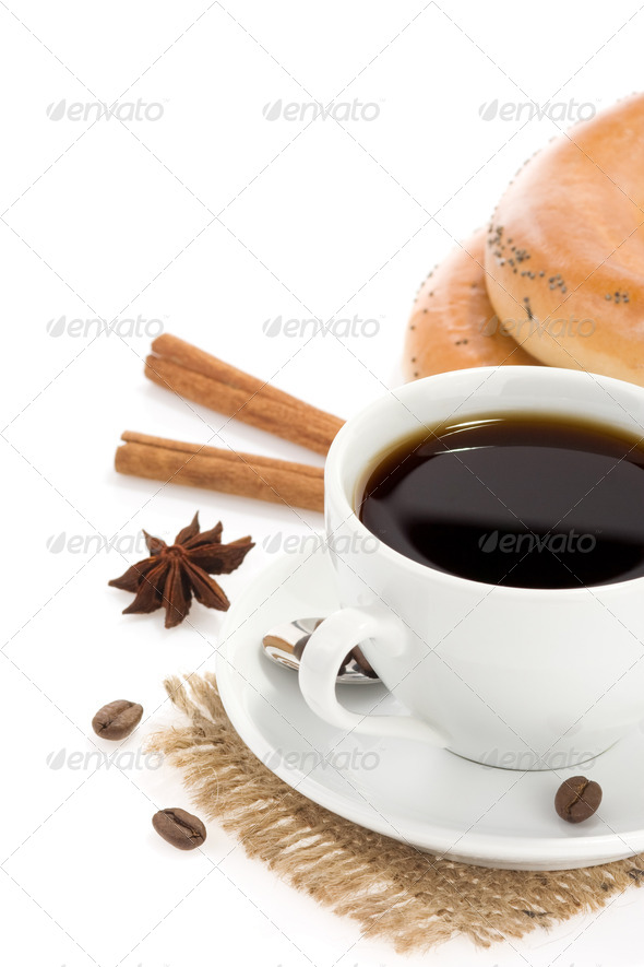 cup of coffee with sweets on white - Stock Photo - Images