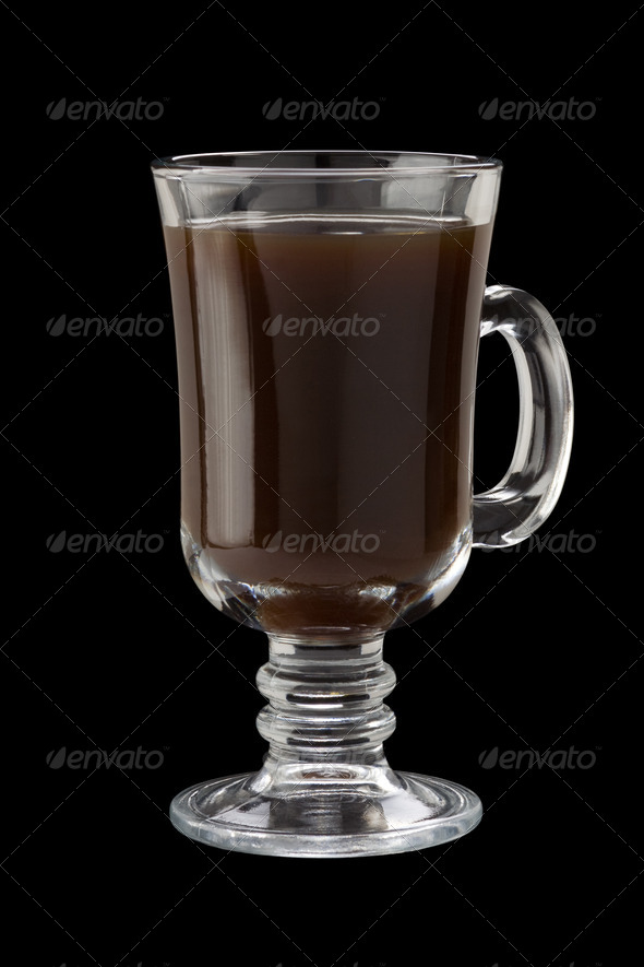 glass cup of coffee  on black - Stock Photo - Images