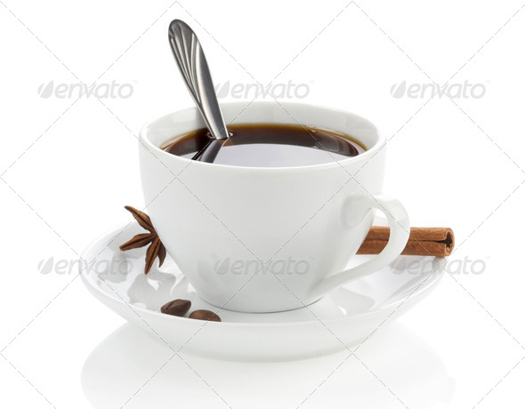 cup of coffee with beans and spoon - Stock Photo - Images