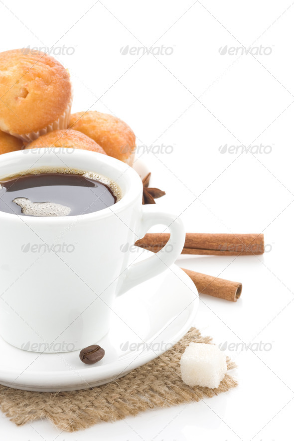 cup of coffee with sweets - Stock Photo - Images