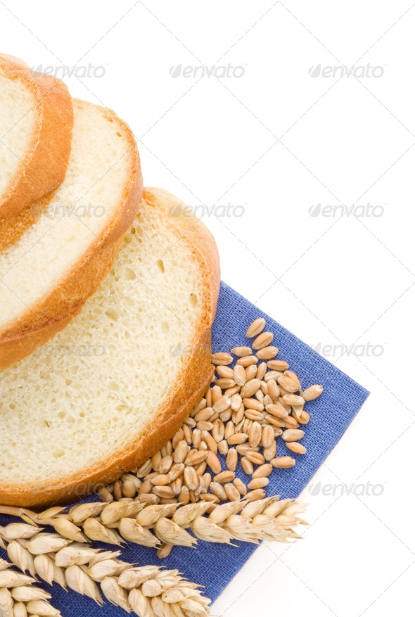 sliced bread and ears of wheat - Stock Photo - Images