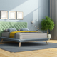 Colorful double bed in a minimalist bedroom - PhotoDune Item for Sale