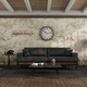 Vintage living room with black sofa against old wall - PhotoDune Item for Sale