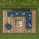 High angle view of a garden with sofa on a wooden deck floor on grass - PhotoDune Item for Sale