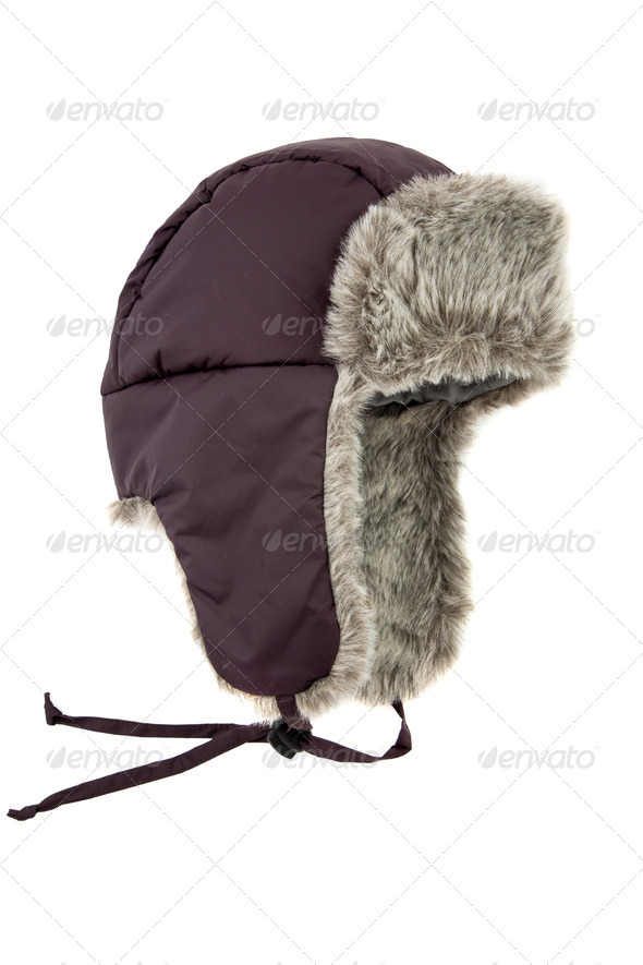 dark blue children's fur cap - Stock Photo - Images