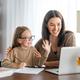 Girl doing homework or online education. - PhotoDune Item for Sale