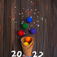 Flat lay view at Waffer cones with rainbow color balls - PhotoDune Item for Sale