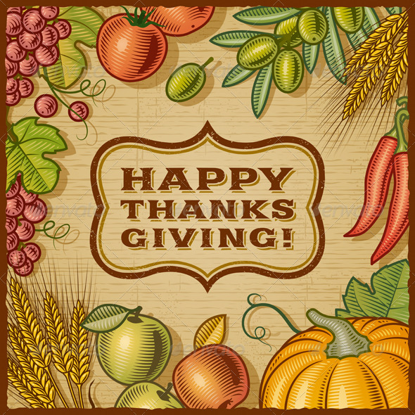 Thanksgiving Retro Card - Miscellaneous Seasons/Holidays