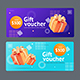 Gift Voucher Coupon Set with Realistic Detailed 3d Elements .