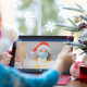 Happy child wearing medical mask in video chat. Christmas holiday - PhotoDune Item for Sale