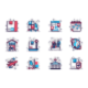 Shipping Line Icons Set