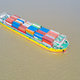 aerial view of a container ship on river - PhotoDune Item for Sale