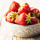 Whole ripe red strawberries in bowl. - PhotoDune Item for Sale