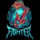 Koi Fish Fighter Illustration