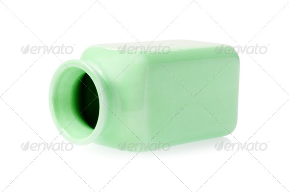Empty Green Porcelain Container - Stock Photo - Images